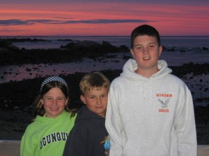 From the summer of 2007, the coast of Maine: Maggie, Gavin, and Nick.